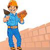cheerful bricklayer builder in orange helmet with bri