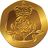 Vector clipart: British money gold coin twenty pences
