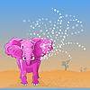 von rosa Elefanten gießt Wasser des Rumpfes