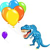 Vector clipart: happy blue dinosaur tyrannosaurs with multi-colored