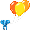 Vector clipart: blue African elephant with multi-colored balloons