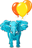 blue African elephant with multi-colored balloons