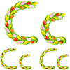 Vector clipart: font type letter C made of flower tulip