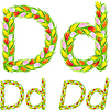 Vector clipart: font type letter D made of flower tulip