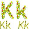 Vector clipart: font type letter K made of flower tulip