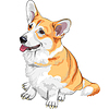 Vector clipart: sketch dog Pembroke Welsh corgi smiling