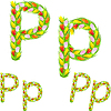 Vector clipart: font type letter P made of flower tulip