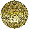 Деньги золотые монеты с пиратским черепом