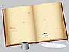 Vector clipart: An old book with pen