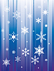 Vector clipart: Falling snowflakes on blue background