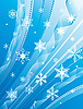 Vector clipart: Whirling snowflakes on blue background
