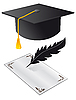 Vector clipart: Hat and paper on graduation