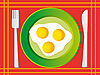 Vector clipart: Fried egg on green plate. Vector illustration