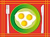 Векторный клипарт: Жареные яйца на зеленой тарелке. Векторная иллюстрация