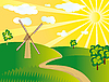 Vector clipart: windmill in the field