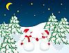 Vector clipart: Romantic rendezvous of two snowmen
