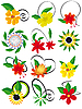 Vector clipart: flowers and leaves to design