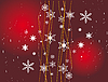 Vector clipart: Christmas red background with snowflakes