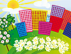 Vector clipart: Solar city among the flowers