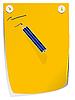 Синий карандаш на желтой бумаге