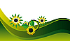 Vector clipart: Yellow flowers on green background