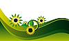 Векторный клипарт: Желтые цветы на зеленом фоне