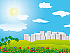 Vector clipart: road through the field in the city