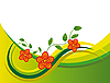 Vector clipart: Red flowers in green waves