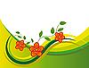 Векторный клипарт: Красные цветы в зеленой волны