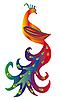 Векторный клипарт: сказочная птица с роскошным хвостом