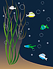 Векторный клипарт: Цветная рыба среди водорослей