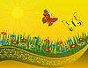 Векторный клипарт: Две бабочки на цветущий луг