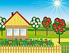 Векторный клипарт: Цветы и деревья возле дома