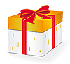 Vector clipart: Gift box with red ribbon