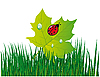 Vector clipart: Ladybird on green leaf