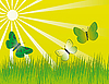 Vector clipart: Three butterflies over the meadow