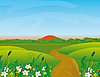 Road through the blooming meadow | Stock Vector Graphics