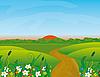 Векторный клипарт: Дорога через цветущий луг