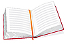 Vector clipart: Open book with bookmark