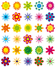 Vector clipart: collection of simple flowers