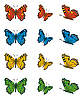 Vector clipart: Collection of butterflies