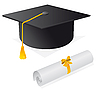Векторный клипарт: Кап и диплом для студента