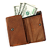 Brown leather wallet with dollars | Stock Foto