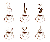 Vector clipart: set of cups with hot coffee