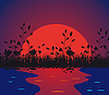 Vector clipart: Nature against the setting sun