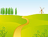 Vector clipart: narrow road through the field