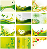 Vector clipart: Set of backgrounds with flowers and butterflies