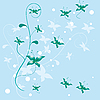 Vector clipart: Abstract blue background with flowers