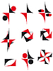 Vector clipart: collection of icons red and black