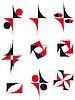 Векторный клипарт: Коллекция икон красный и черный